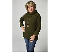 Ruth Langsford Chunky Knit Roll Neck Sweater with Side Zip Detail - 173621