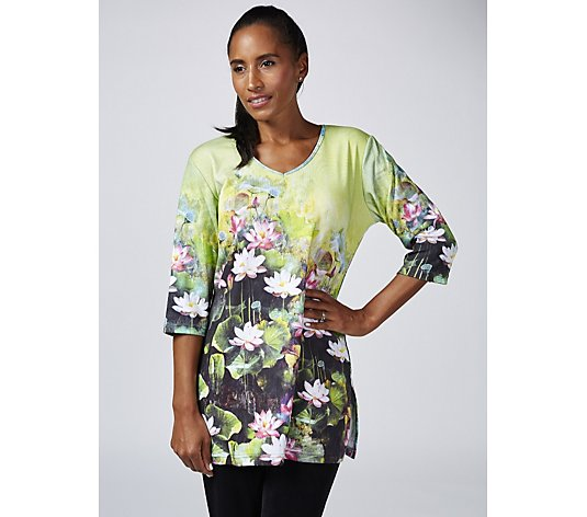 Butler & Wilson V-Neck Lotus Flower Top