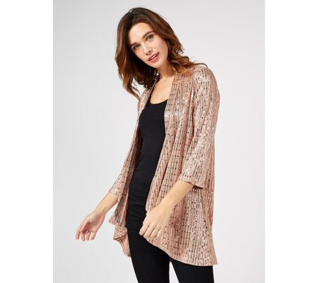 Foil Edge to Edge Waterfall Front Cardigan by Michele Hope