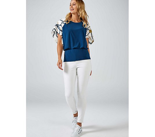 Coco Bianco Top with Printed Sleeves