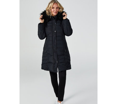 Centigrade Faux Down Quilted Coat with Faux Fur Hood