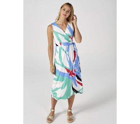 Ben de Lisi Jersey Printed Sleeveless Empire Line Midi Wrap Dress