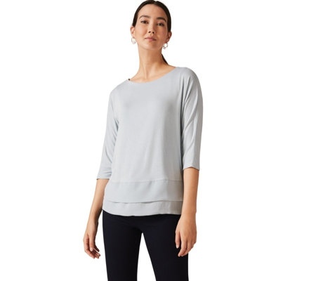 Phase Eight Double Layer Jersey Top With Woven Hem