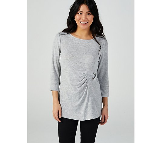3/4 Sleeve Soft Knit Tunic with Side Twist Detail by Nina Leonard