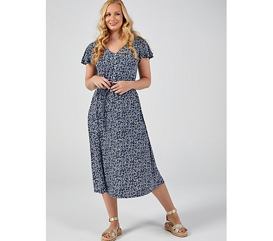 Perceptions Printed V Neck Dress with Buttons