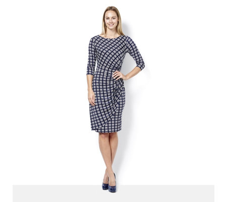 Eve 3/4 Sleeve Retro Geometric Print Dress by Onjenu London
