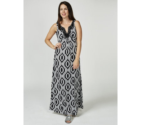 Ronni Nicole Printed Maxi Dress with Beaded Neckline