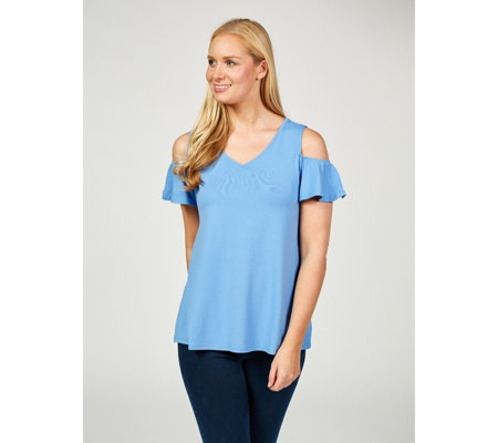 H by Halston Crepe V Neck Ruched Cold Shoulder Top