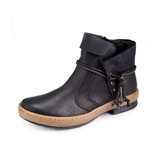 Rieker Fold Over Tassle Ankle Boot