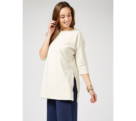WynneLayers Split Hem Elbow Sleeve Tunic