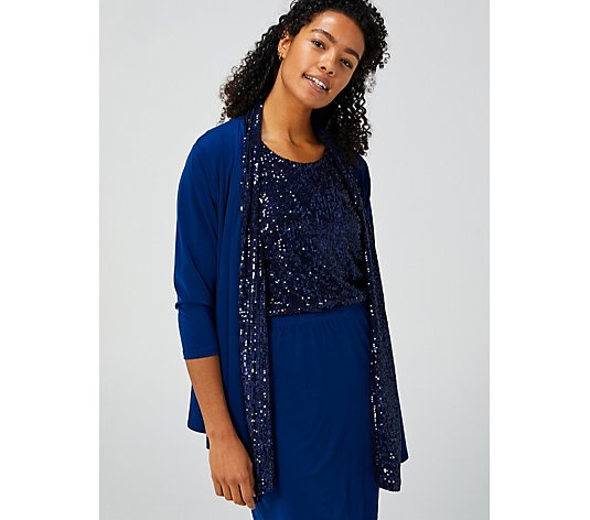 Draped Front Cardigan with Sequins by Michele Hope
