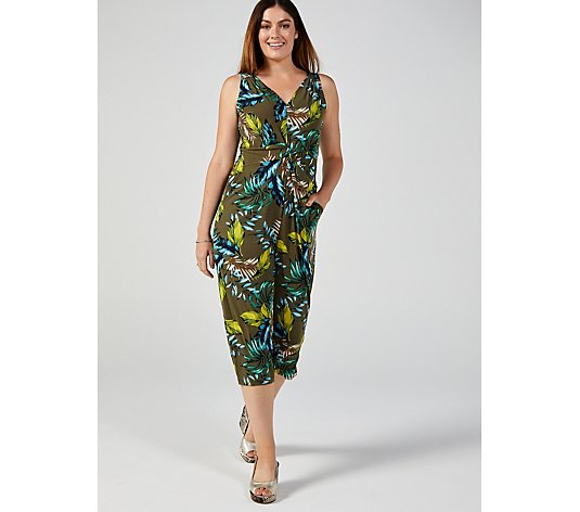 Kim & Co Brazil Jersey Twist Front Sleeveless Gaucho Petite Jumpsuit