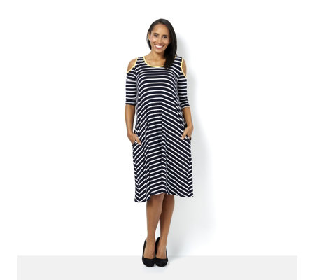 Scoop Neck 3/4 Sleeve Cold Shoulder Striped Dress by Nina Leonard