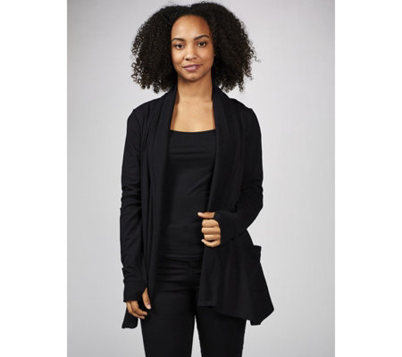 Modern Soul French Terry Drape Front Cardigan