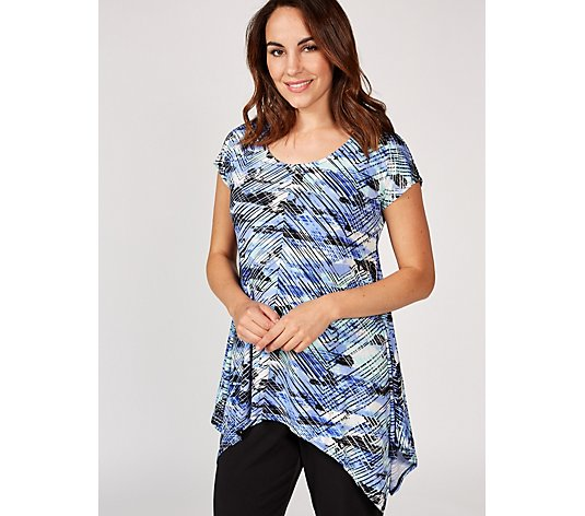 Attitudes by Renee Printed Swing Top with Asymmetric Hem