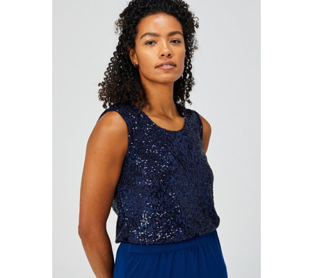 Scoop Neck Camisole with Sequins by Michele Hope