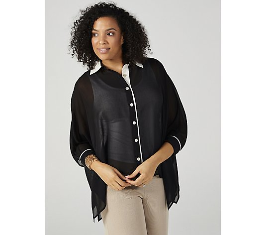 WynneLayers Unstructured Chiffon Shirt with Colourblock Trim