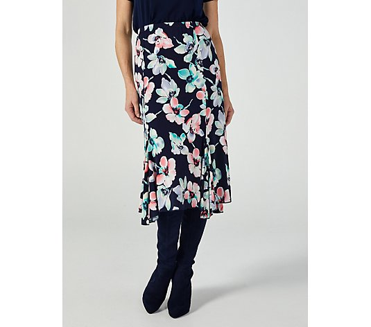 Floral Watercolour Handkerchief Hem Panelled Skirt by Michele Hope