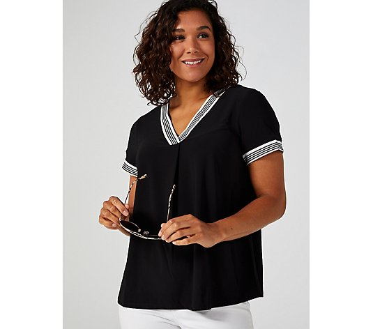 Perceptions V Neck Short Sleeve Top