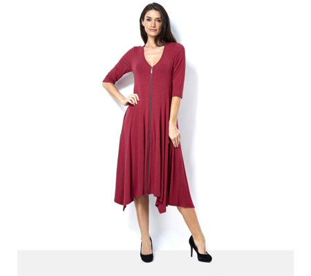 Join Clothes Melange Jersey Longline Zip Front Dress with Sharkbite Hem
