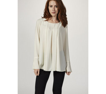 6695adf6a9184 Logo by Lori Goldstein Woven Top with Inverted Pleats   Flounce Cuff -  165824