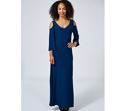 Attitudes by Renee Cold Shoulder 3/4 Sleeve Maxi Dress