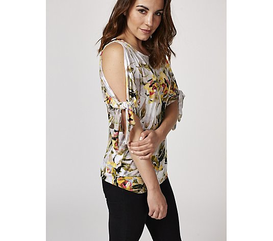 Printed Cold Shoulder Top with Tie Cuffs by Nina Leonard