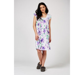 04539f0ac3 Carole Hochman Cotton Jersey Floral Print Lace Trim Short Nightdress -  175924