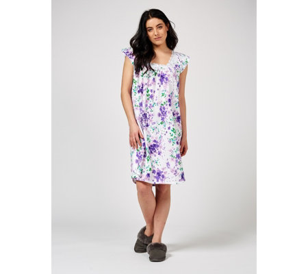 Carole Hochman Cotton Jersey Floral Print Lace Trim Short Nightdress