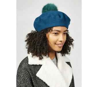 Helen Moore Faux Fur Pom Pom Beret - 176524 4da8fc9409ab
