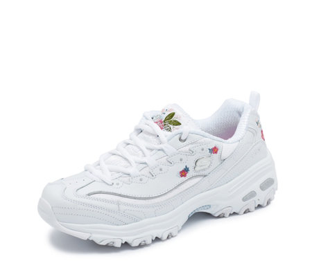 Skechers D Lites Bright Blossoms Floral Embroidery Lace Trainer