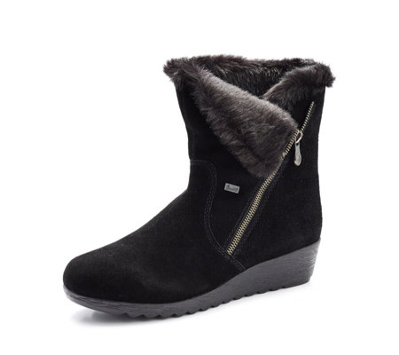 Outlet Rieker Side Zip Faux Fur Wedge Boot