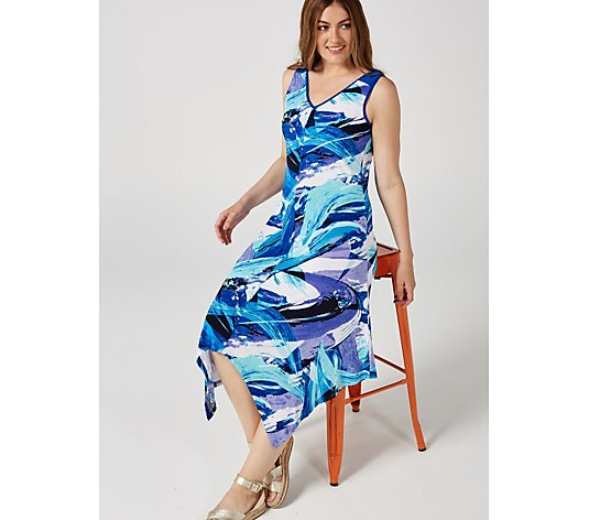Printed V Neck Asymmetric Hem Dress by Nina Leonard