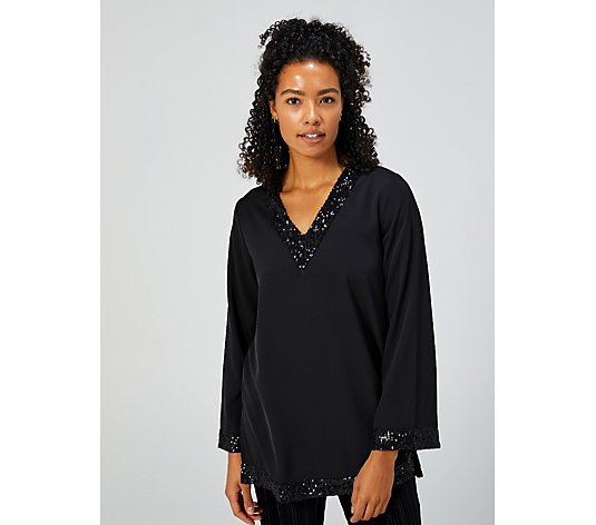 Chiffon & Sequin Drape Kaftan by Michele Hope