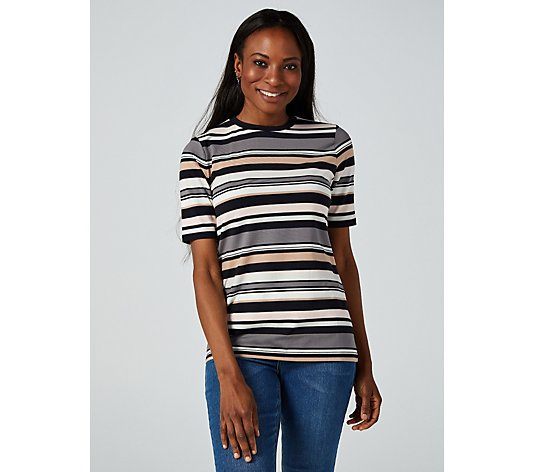 Isaac Mizrahi Live Stripe Elbow Sleeve Crew Neck Top