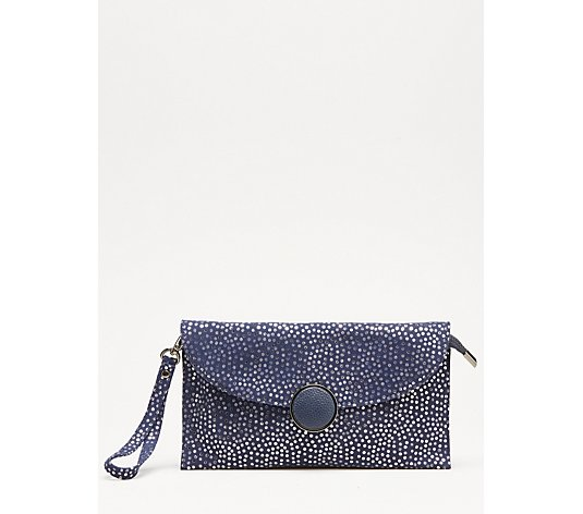 Frank Usher Leather Metallic Spot Clutch Bag with 2 Detachable Straps