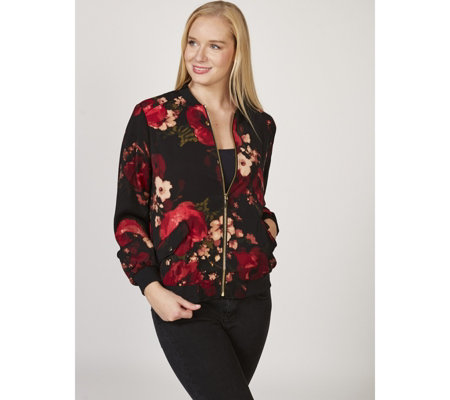 Printed Stretch Peachskin Bomber Jacket by Susan Graver