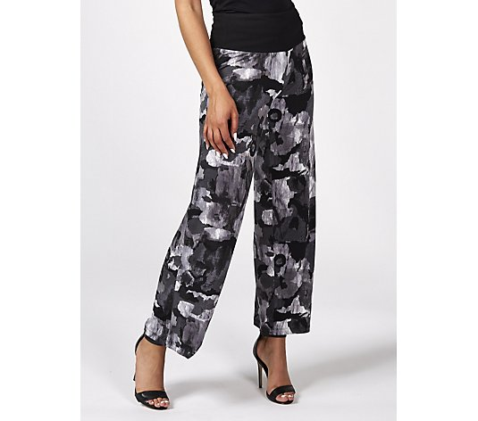 Women with Control Printed Wide Leg Trouser with Tummy Control