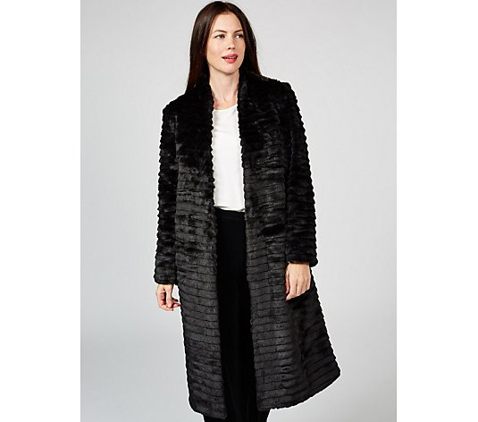 Helene Berman Faux Fur Edge to Edge Coat Contrast Lining