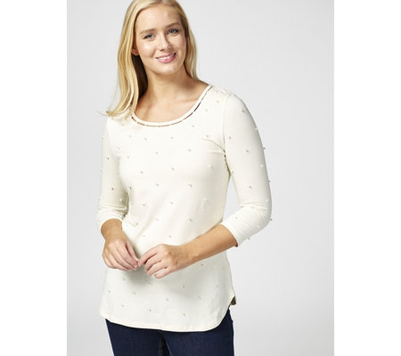 Isaac Mizrahi Live 3/4 Sleeve Pearl Dot Top with Neckline Detail