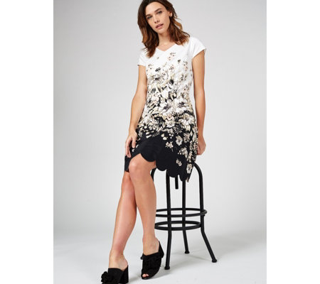 Isaac Mizrahi Live Printed Scallop Hem Dress