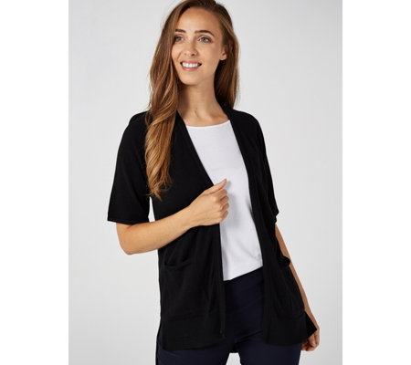 H by Halston Open Front Elbow Raglan Sleeve Cardigan