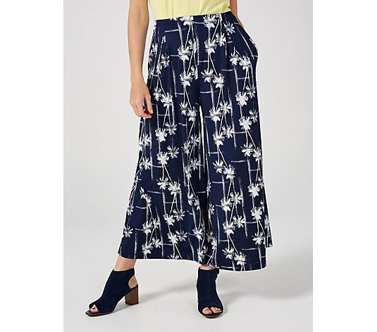 Alton Grey Palm Print Cropped  Palazzo Trousers