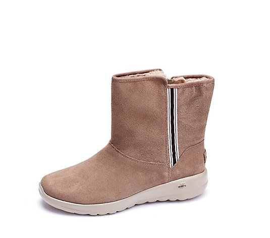 Skechers On The Go Joy Mid Suede Boot With Webbing Faux Fur Lining