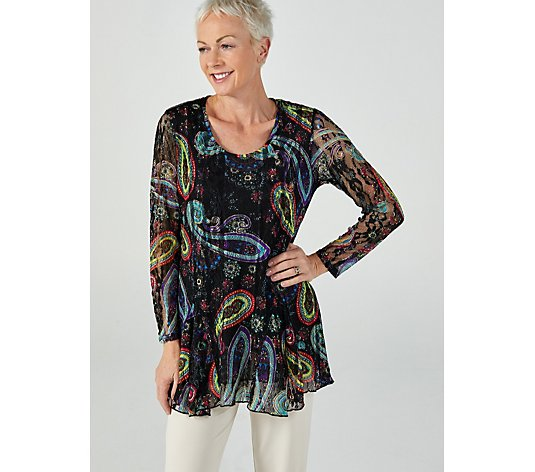 Printed Lace Insert Tunic by Michele Hope