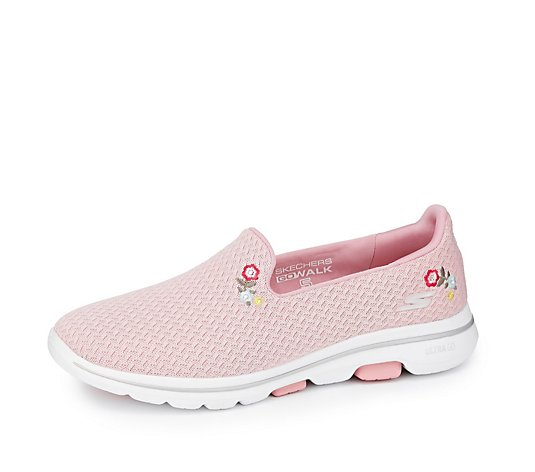 Skechers Go Walk 5 Flowery Air Mesh Slip On Trainer