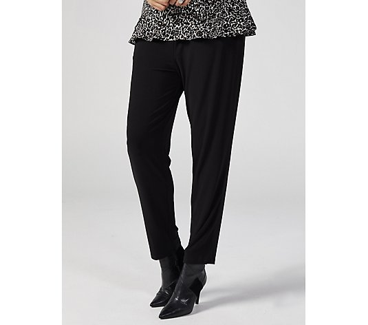 Pleat Front Narrow Leg Trousers with Pockets by Nina Leonard