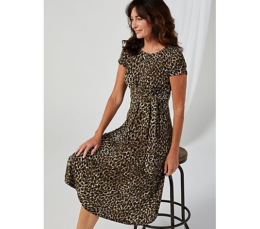 Perceptions Printed Midi Dress with Side Knot at Waist