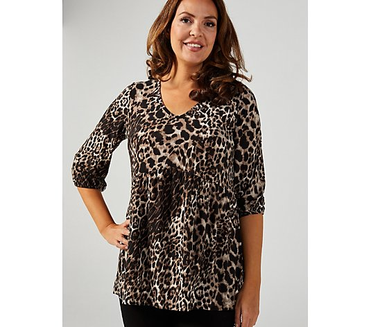 Kim & Co Printed Brushed Venechia 3/4 Blouson Sleeve Smock Tunic