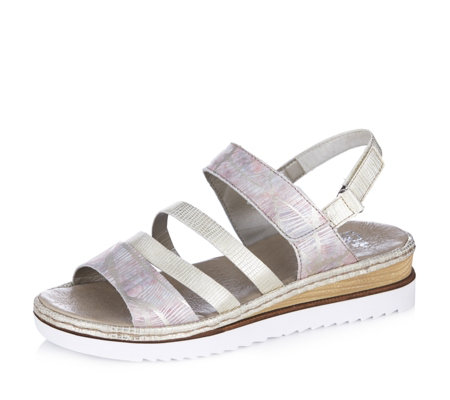 Rieker Metallic Print Multi Strap Wedge Sandal